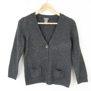 Ann Taylor Charcoal 3/4 Sleeve Cardigan Sweater